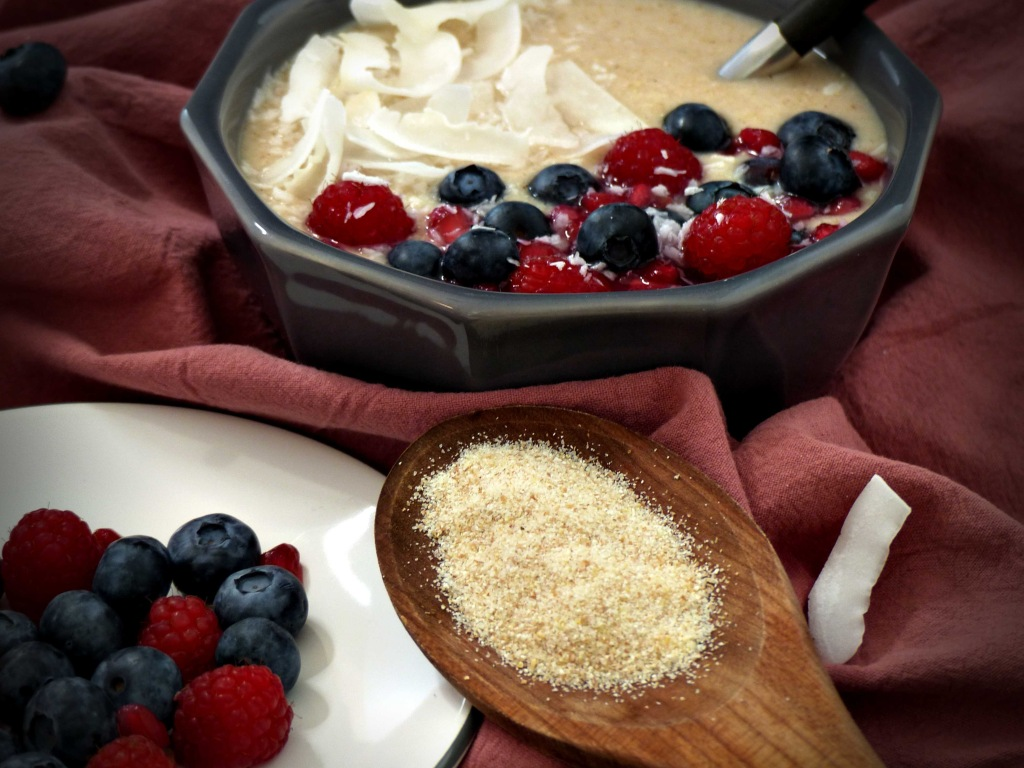 Grießbrei Beeren Frühstück vegan