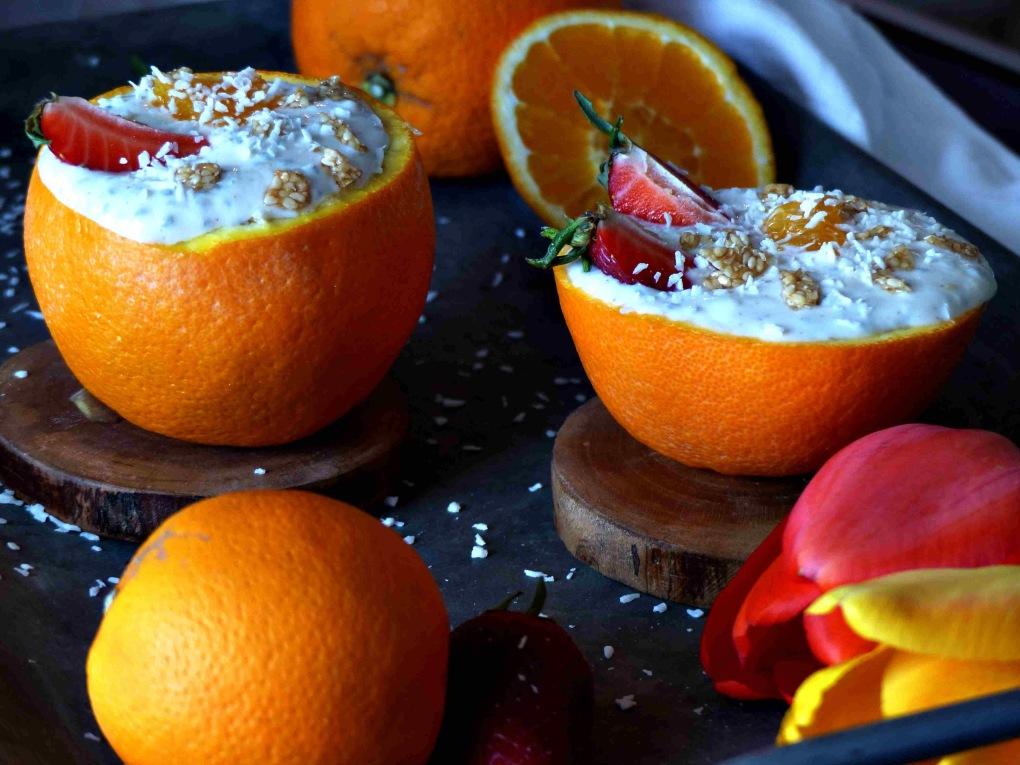 Gefüllte Orangen Rezept vegan Kokosorangen GewusstVegan